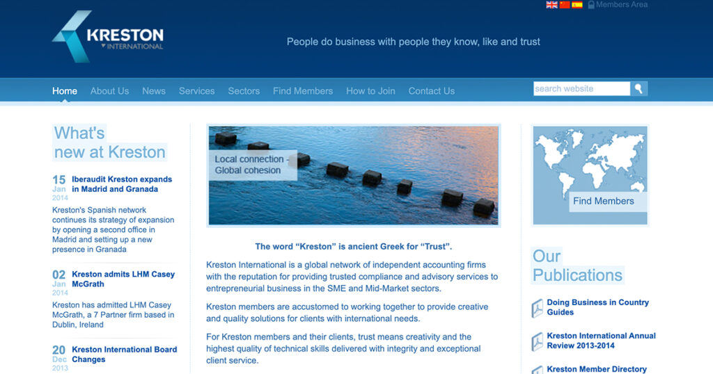 Kreston's tri-lingual website